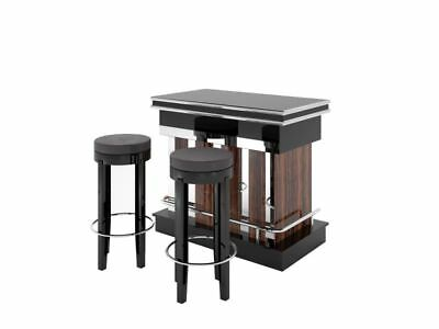 Macassar and Piano Lacquer Design Bar with Chrome Poles and Stools in Leather