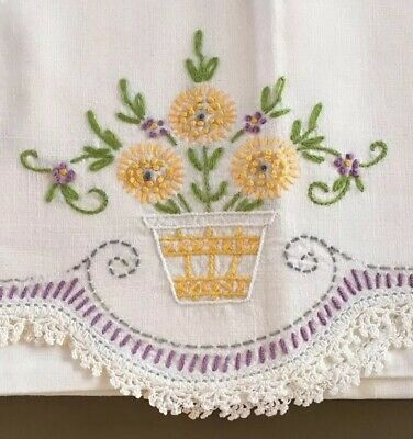 PRISTINE Vintage White Hand Embroidered Pair Of Pillowcases