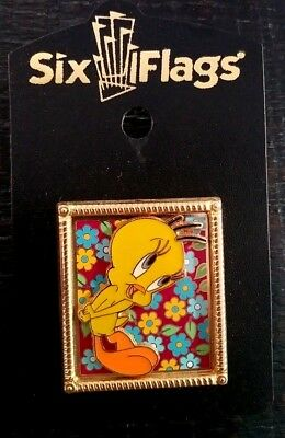 Six Flags Warner Bros Tweety Bird Gold Picture Frame Collectible Pin Rare