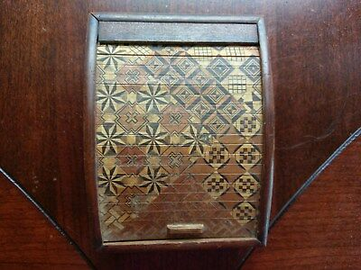 Vintage 1940s Inlaid Wood Cigarette Box Wooden Roll Top Made in Japan Geometric