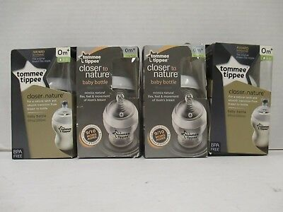 4 Tommee Tippee Closer To Nature Baby Bottle - 9 Fl Oz Each - 0+M - Rc 8939