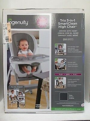 Ingenuity Trio 3-In-1 Smartclean High Chair - Slate - 6M-5Y Up To 50Lbs  Rc 9146
