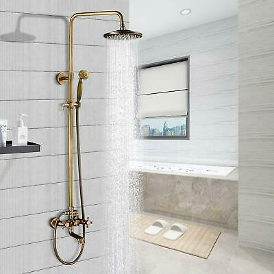 Antique Brass Shower Faucet 8-inch Rainfall Shower Head Hand Shower Tub Mixer