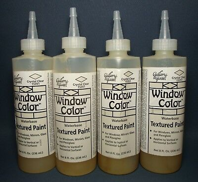 4 x PLAID GALLERY GLASS 8FL Oz / 236ML CRYSTAL CLEAR WINDOW COLOR PAINT ~ SEALED