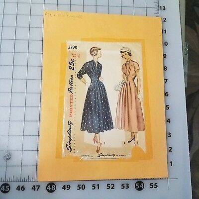 Vintage 1950s Simplicity #2798 dress sewing pattern 12 bust 30 complete