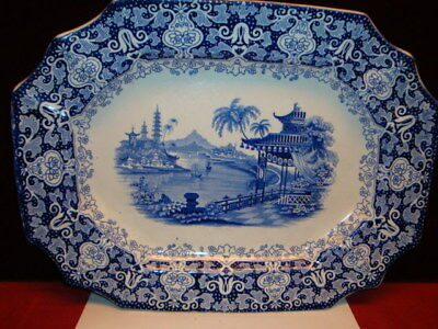 Antique Blue Transferware Ironstone Platter Erford Edwards Oriental River Scene