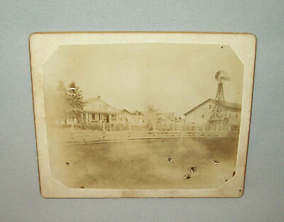 Antique Vtg 1900s Farm House Barns Windmill Small Cabinet Card Photo Photograph