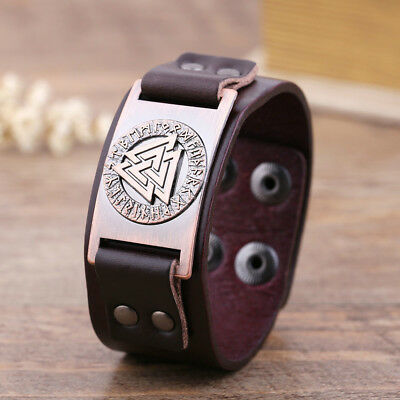 Ancient Viking Ethnic Scandinavian Norse Runes Leather Bracelet Cuff Wristband