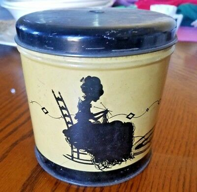 Vintage Tin Can Litho String Yarn Holder Silhouette Lady Knitting, Cat Playing