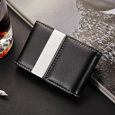 New Portable Metal Leather Credit Card Holder Double Open Business Case Wallet