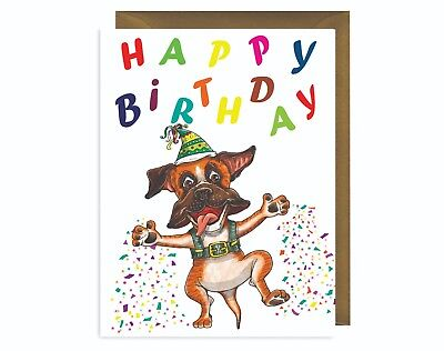 Boxer Dog Themed Birthday Card Rescue Charity Benefits
