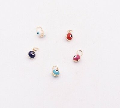 Small Round Blue, Red, White Evil Eye Luck Charm Pendant Real 14K Yellow Gold
