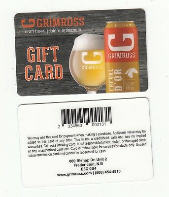 GRIMROSS micro-brewery gift card Fredericton, NB Canada 2018 NO VALUE beer