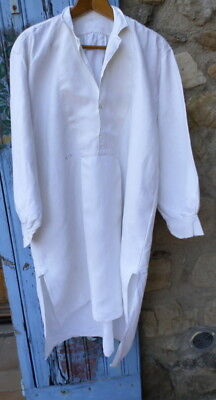 """Antique French LINEN """"GL"""" Mens wineworkers Shirt Work Chore Farmers Smock Ch 44"""""""