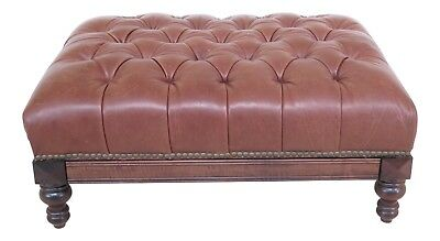 25659EC: Tufted Leather Ottoman Coffee Table w. Pull Out Tray
