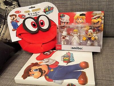 NEW! Super Mario Odyssey Pack: 3 amiibos + Game Collector's Guide + Cappy Hat