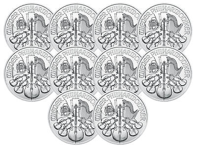 Lot of 10 - 2019 1oz Austrian Silver Philharmonic .999 Fine BU