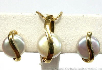 14K Yellow Gold Cultured Pearl Vintage Mid Century Necklace Earrings Suite