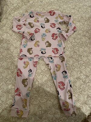 5efc4d6986d5 BABY GAP TODDLER Girls Pink Disney Princesses Pajamas 2 Piece Size ...