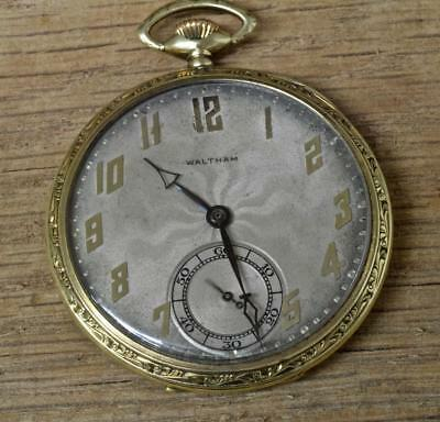 Antique 14k Gold Waltham Pocket Watch, Maximus, Riverside A, 19 Jewel, Size 14s