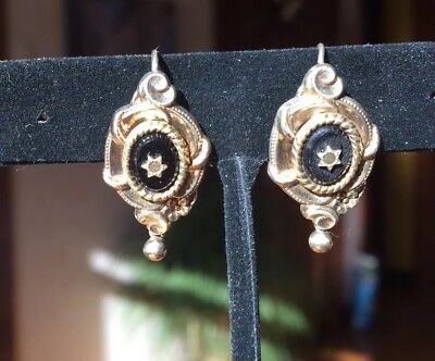 Antique gold plated silver earrings