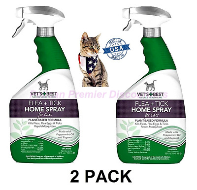 2 PACK Vet's Best Flea and Tick Home Spray for Cats 32 oz X 2 Made In USA