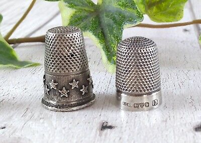 Antique 1912 Henry Griffiths Sterling Silver Size 13 Thimble & Stars Thimble