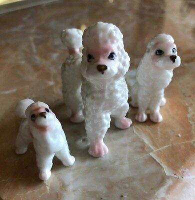 Trio of Vintage French Poodle Figurines — White with Pink Details