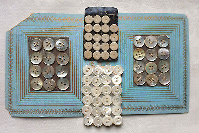 4 cards tiny antique buttons - dolls