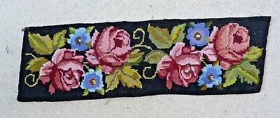 """Vintage Needlepoint Tapestry 18"""" X 6""""  Floral, Wool"""