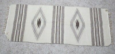 """Vintage Navajo Southwest Style Mexican 60"""" x 23"""" Hand Woven Rug with fringe"""