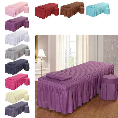 190x80cm SPA Massage Table Bedding Linen Skirt Beauty Sheet with Face Hole