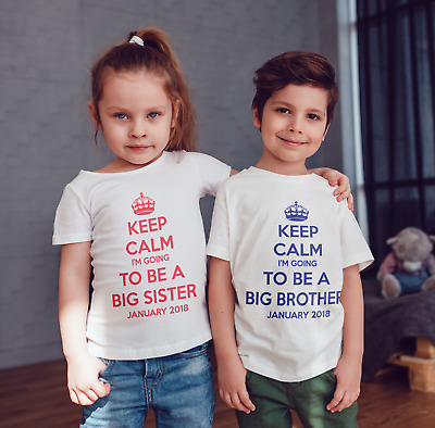 Keep Calm I'm going to be a  big brother childrens Personalised T-shirt  kids
