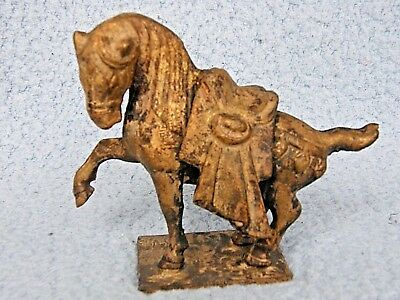 Horse Sculpture Cast Iron Samurai War/Warrior-Japan Tang Ming Asia Dynasty Vtg