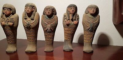 Rare Antique Ancient Egyptian 5 Ushabti work As sevant,minions scarab1870-1740BC