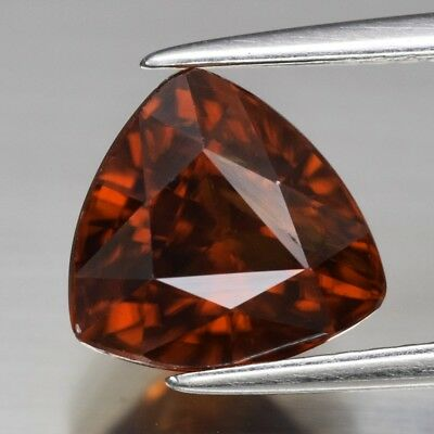 VVS 4.07ct 8.8x8.4mm Trillion Natural Unheated Reddish Orange Zircon, Tanzania