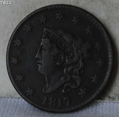 "1817 Coronet Head Large Cent ""VF+"" *Free S/H After 1st Item*"