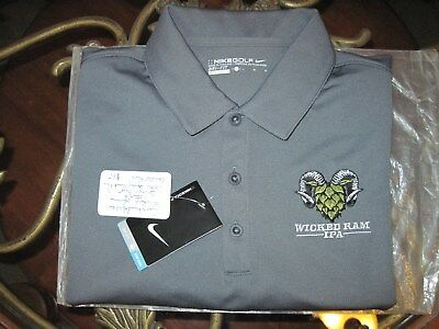 New Lg Limited Edition Super Rare Nike Shiner Wicked Ram Beer Custom Golf Polo!.