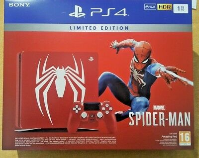 Console Ps4 Sony Limited Amazing Red Spiderman 1 Tb + Gioco Pal Ita Playstation4