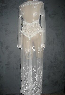 Claire Pettibone Bridal White Robe FAITH Wedding Lace XS  NWT $383 FLAW AT HEM