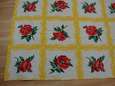 Vtg Tablecloth Poppies Wheat Plaid Yellow Red Bright 46 x 50 Mid Century