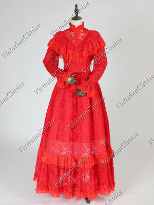 Victorian Edwardian Vintage Red Lace Theater Dress Christmas Holiday Gown 392