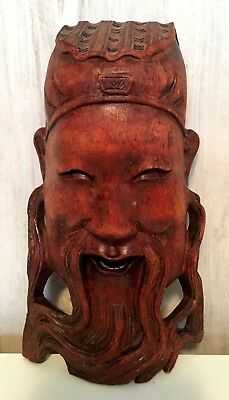 Vintage Chinese Hand Carved Hard Wood God of Wealth Mask Wall Decoration