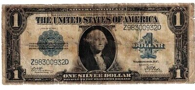 1923 US $1 One Dollar Silver Certificate Blue Seal Large Currency Note H98300932