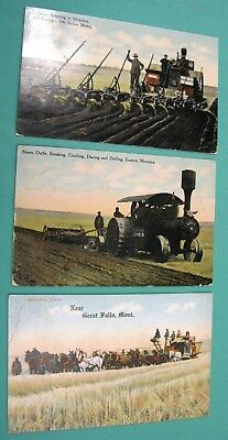 Vintage 3 pc Lot Steam Breaking Outfit Horse Drawn Farming EastMontana Postcard
