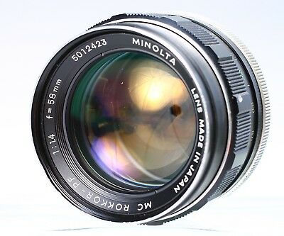 MINOLTA 58MM F/1.4 MD MC ROKKOR-PF LENS No. 5012423