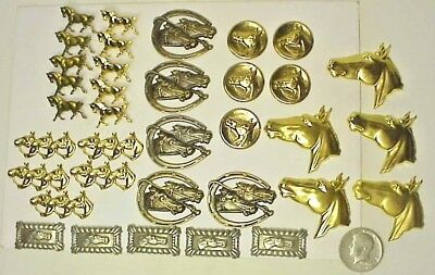 7 different X 5 brass Horse theme decorative pieces = 35 pieces