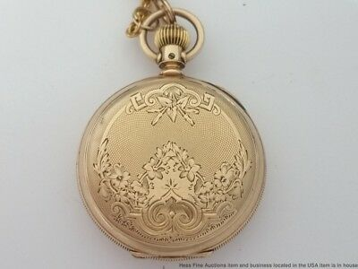 14K Gold Scarce 100 year old Longines Ladies Hunter Pocket Watch with chain