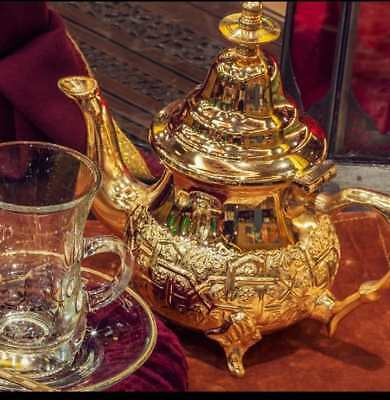Vintage Authentic traditional Moroccan Handmade Gold Silver Teapot