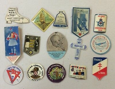 15 Vintage Celluloid & Card Appeal Day Pin Badges WW2 Free French POW Lot 14